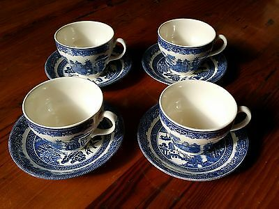 Vintage Blue Willow Tea Cup and Saucer Set of 4 Made in England Johnson Bros