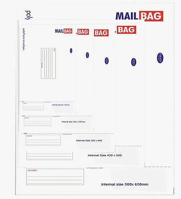 25 x Mail Bags Strong Bag Polythene Envelope Small 160 x 230 - Giant 500x 650mm