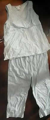 Motherhood Maternity Blue White Checked Pant Outfit Sleeveless FREE SHIPPING