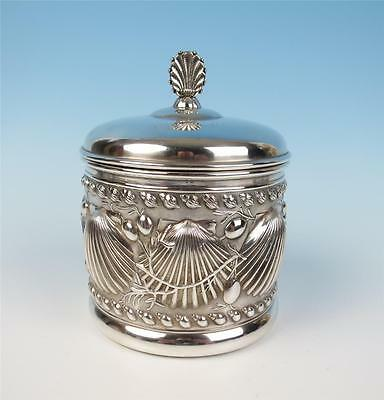 19th C. Tufts Boston Repousse Silverplate Humidor Tobacco Jar Shells Art Nouveau
