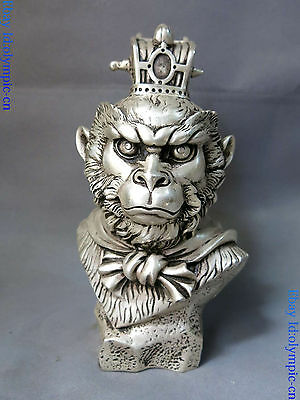 """9"""" China silver carved buddhism lucky Handsome Monkey King head sculpture Statue"""