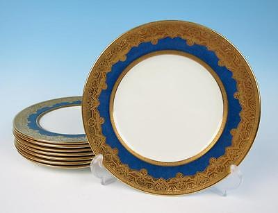 "Set 8 Antique Crown Staffordshire Gold Encrusted 9"" Luncheon Plates Powder Blue"