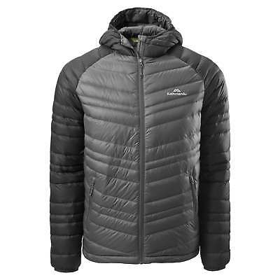 Kathmandu Alptic Mens Packable Hooded Duck Down Travel Puffer Jacket Grey