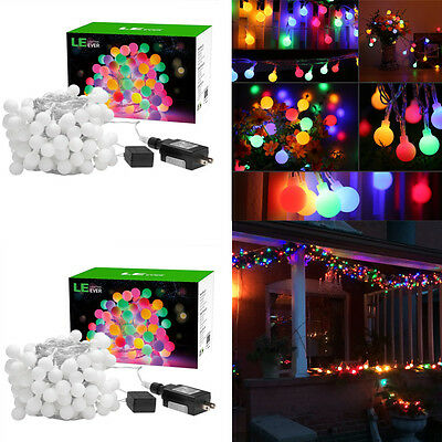 2pack 33FT 100 LED RGB Globe Ball Fairy String Lights  8 Modes Party Decorative