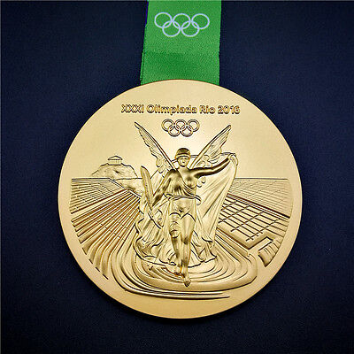 New 2016 RIO DE Olympic Souvenir Gold Medal with Commemorative Ribbon Gift