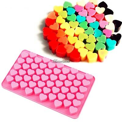 55 Silicone Small Heart Mould Chocolate Cake Sweet Cookie Ice Cube Baking Jelly@