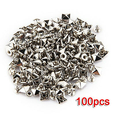 100 PCS 7 x 7 mm Metal Rivets Spikes Rivets Gothic Silver