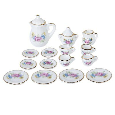 15 Piece Miniature Dollhouse Dinnerware Porcelain Tea Set Tableware Mug Pla H8E7