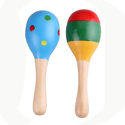 2 X Wood Maracas Musical Instrument Toy For Kids