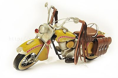 Handmade Yellow Indian Motorcycle 1:8 Tinplate Antique Style Metal Model