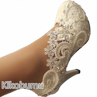 """Sale womens IVORY WHITE lace pearls wedding bridal 3"""" 4"""" high heel pumps shoes"""