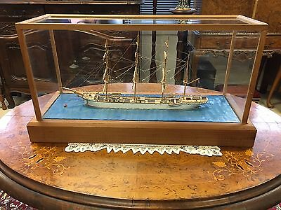 Antique Scale Model of a 4 Mast Barque in Pine and Glass Case