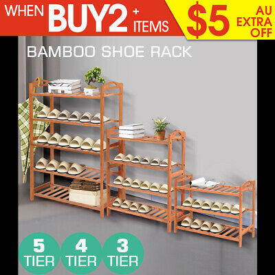 3 4 5 Tiers Bamboo Shoe Rack Storage Organizer Wooden Shelf Stand Shelves