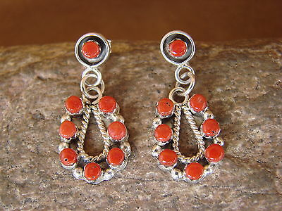 Native American Sterling Silver Coral Dangle Post Earrings! Zuni Indian