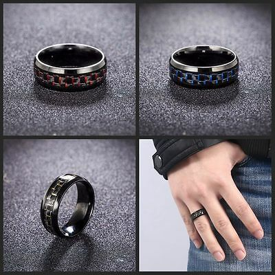 Simple Design 8mm Band Ring Carbon Fiber Stainless Steel Wedding Jewelry
