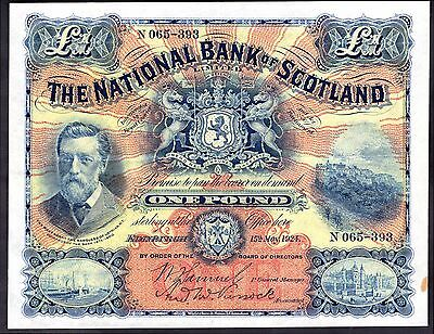 National Bank of Scotland, One Pound, N065-393. 15-5-1924, Good Very Fine.