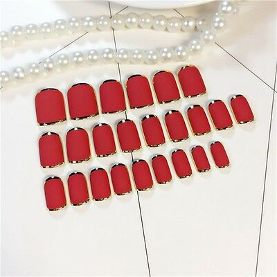 Frosted Red Press On Nails Flat Gold Medium Artificial Lady False Nails Tip Z401