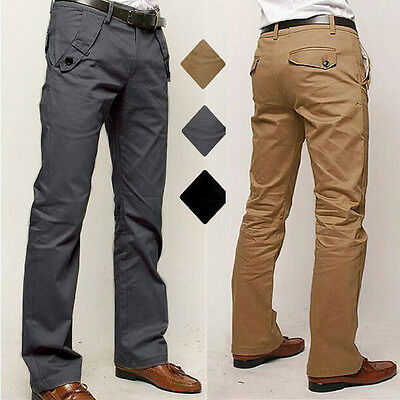 Mens Straight Leg Chinos Khaki Pants Plain Casual Formal Business Slim Trousers