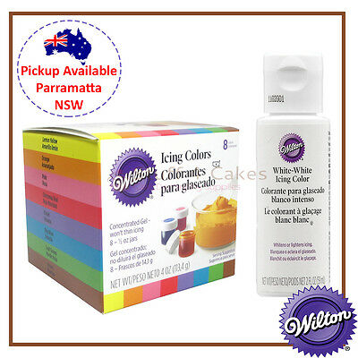 Wilton 8 Set Icing Colours & White White Cake Decorating Food Colour Gel Paste