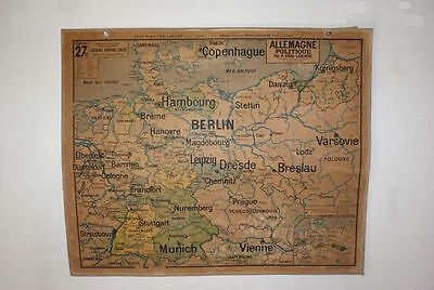 Industrial Vintage French MAP GERMANY Vidal Lablache 1950s School Wall