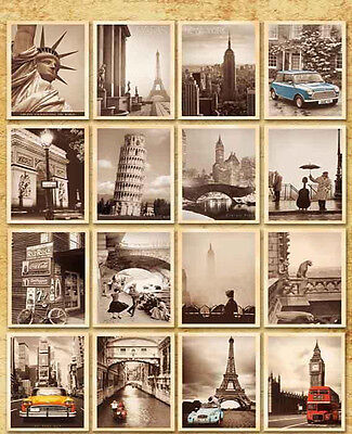 32pcs/set Retro Attractions Sights Landscape Postcards Travel Greeting Cards