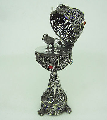 Russian 84 Silver Filigree Egg with Lion Figure 1873 y.