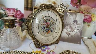 Stunning Vintage 1940's Petit Point Embroidered Dressing Table Clock Filigree
