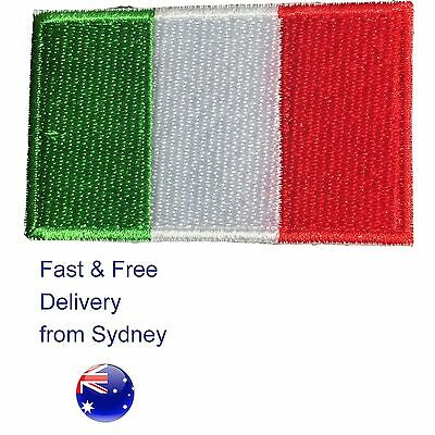 Italian flag embroided iron on patch - Italy tricolour -Free & fast delivery