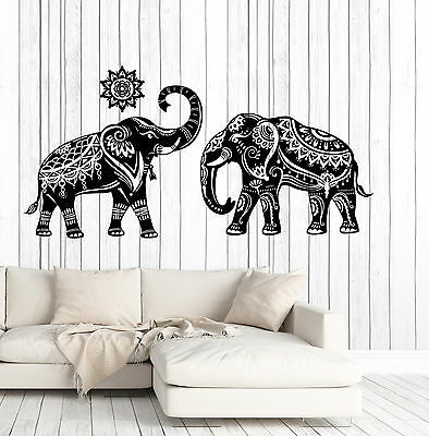 Wall Vinyl Decal Couple Indian Elephant Pattern Skin Home Interior Decor (z4679)