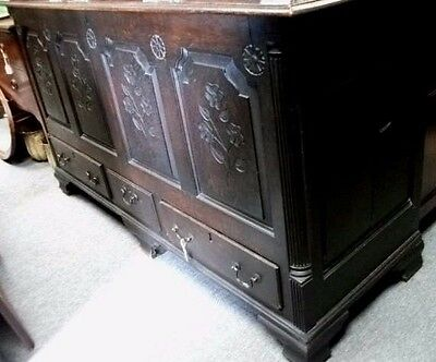 18th century oak carved coffer chest blanket box 64 inches