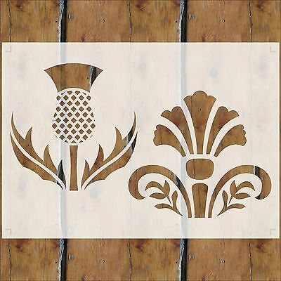 STENCIL Set THISTLES 20mm to 270mm Flexible Mylar 350Micron or Rigid Acrylic #P5