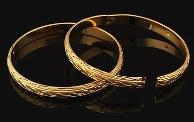 18ct Dubai Gold Filled Bangle Rolled Bracelet Frosted India Asian Wedding