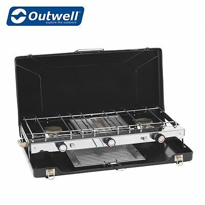 Outwell Appetizer Cooker 3-Burner Stove with Grill Camping Cooking Stove 650269