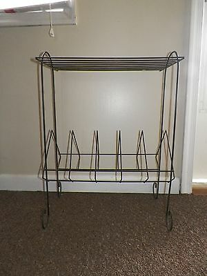Vtg Black Metal Wire Record Rack Turntable Stand Mid Century Modern Retro