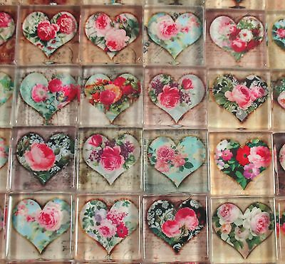 "Glass Mosaic Tiles - Shabby Chic Hearts Roses Vintage Designs 1"" Square Tiles"