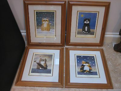 The Weather Fourcats by Sue Hemming - 4 signed limited edition prints.
