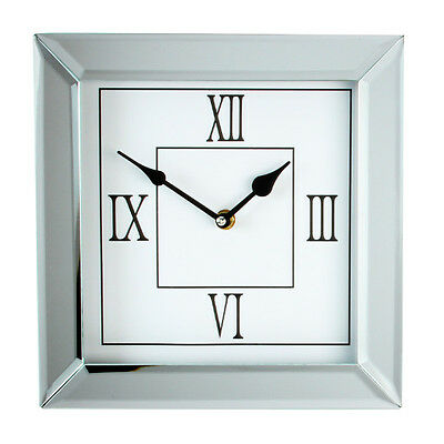 Mirrored Clock Bevelled Mirror Glass 25 cm X 25 cm Square Wall Clock