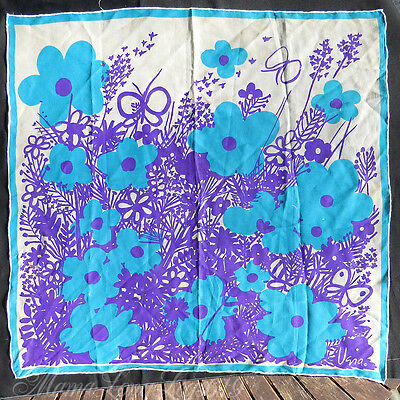 Vintage Vera Neumann Hand-Rolled Scarf Floral Daisies Thistle Butterfly Flowers