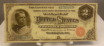 1886 US $2 Dollar Hancock Silver Certificate Note Paper Money ~ Fine Condition