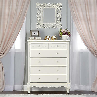 Evolur Aurora 6 Drawer Tall Chest - Ivory Lace