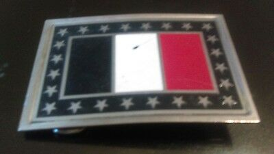 Vintage Brass Belt Buckle - French Flag Tricolour Rare Collectible