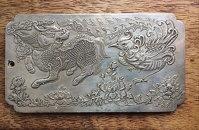Silver Billion Amulet Pendant Statue Chinese Oriental Mythical Lion And Phoenix