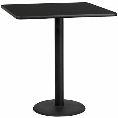 42'' Square Black Laminate Table Top with 24'' Round Bar Height Table Base FLAXU