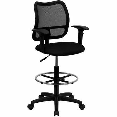 Mid-Back Mesh Drafting Chair with Black Fabric Seat and Height Adjustable Arms F