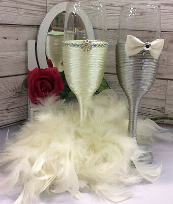 Mr & Mrs  bride and groom wedding champagne flutes wedding toast Ivory grey