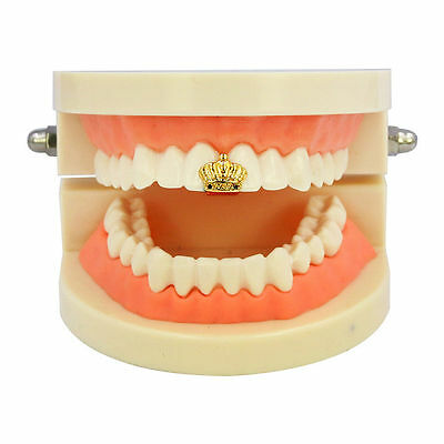 Crown Single Cap Grill Grillz Gold Tooth Jewel Royalty Hip Hop Bling