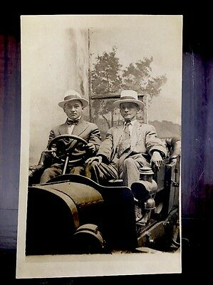 RPPC Vintage Early 1900s Real Photo Postcard Handsome Men Old Car Antique