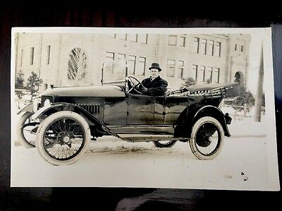 RPPC Vintage Early 1900s Real Photo Postcard Handsome Man Old Car Antique