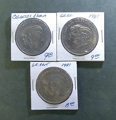 Lot of 3 Great Britain 1981 Commemorative Charles & Diana Wedding Crown coins