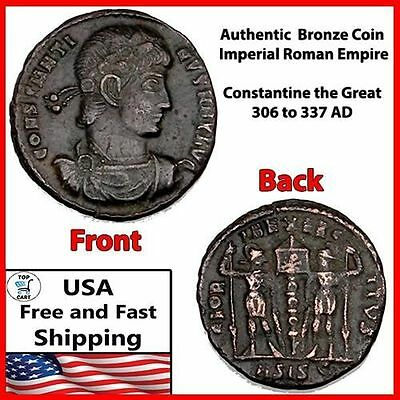 Ancient Roman Coin Bronze Antique Constantine the Great Collector Rare Authentic